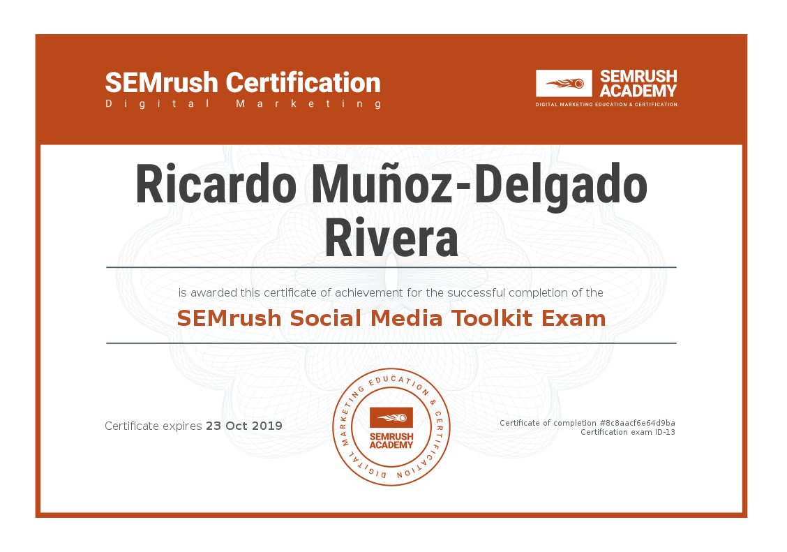 SEO Cádiz / Certificado SEMrush -Ricardo Muñoz