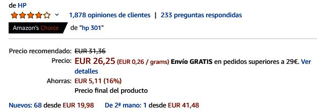 Cartuchos de tinta - Los productos más vendidos en Amazon 2019