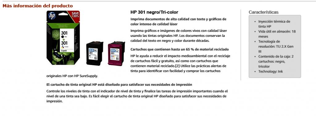 HP 301 - Pack de ahorro de 2 cartuchos de tinta Original HP 301 Negro, Tricolor para HP DeskJet, HP OfficeJet y HP ENVY - Los productos más vendidos Amazon