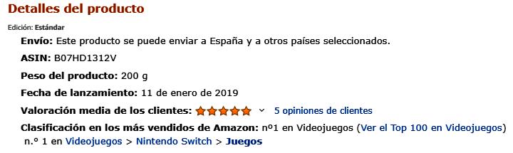 Lo más vendido en Amazon - Juegos