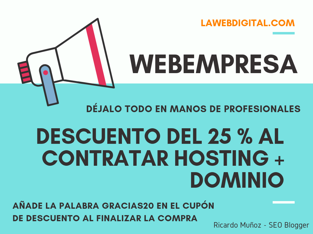 Descuento Hosting + Dominio Webempresa