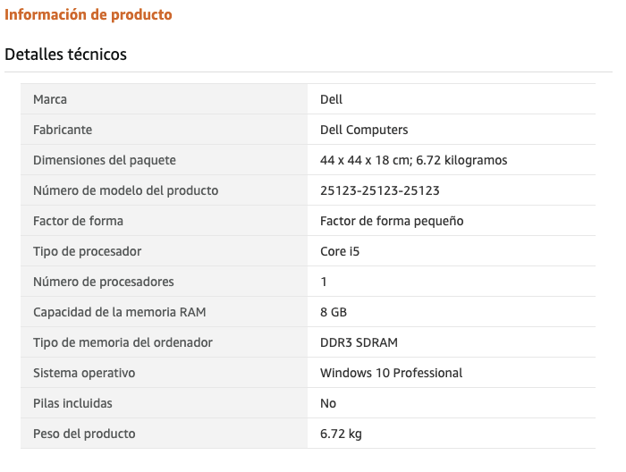 Ordenador de sobremesa Dell - Características